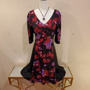 London Times Multi-Colored Fit-and-Flare Dress